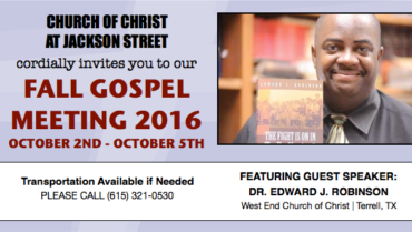 Join Us for Our Fall Gospel Meeting – October 2nd – 5th